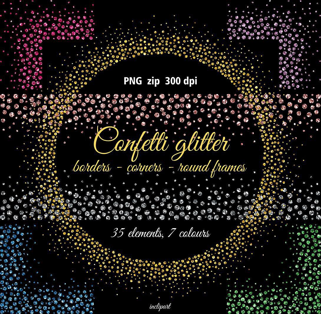 Confetti glitter borders corners round frames clipart zoom biocorpaavc Choice Image