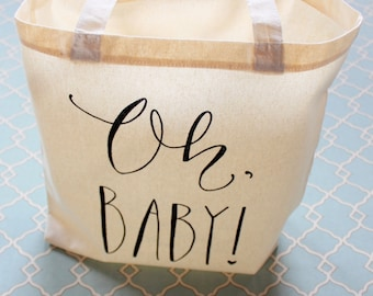 Baby Shower Gift Bag or party favor Prize bag Handwritten Oh Baby Tote