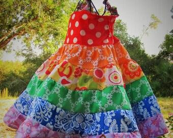 Girls Rainbow Party Dress Cotton Twirl Dress Size 2 3 4 5 6 7 8 10 12