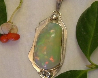 Ethiopian Fire Opal Necklace Sterling Silver OOAK Large Gem Chunky Statement Necklace Handmade Blue Pink Green and Yellow Fire 367 G