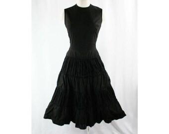 Size 8 1950s Dress - Victorian-esque 50s Black Sun Dress - Fitted Bodice - Tiered Full Skirt - Black Cotton - Summer - Waist 26.5 - 42945