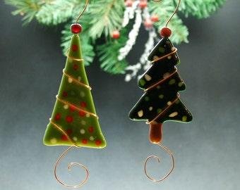 Slumped and Fused Christmas Tree Ornament