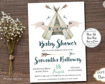 INSTANT DOWNLOAD - Boho Teepee Tribal Baby Shower Invitation - Boy Pow Wow Aztec Feather Baby Shower - Arrows Boho Oh Boy Little Chief 0441