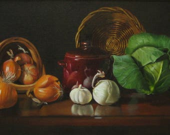 Cabbage and Onions, original oil painting by Liisa Strandman