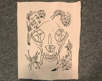 Wild cat skull back patch