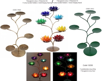 Displays 'gold' or 'green' metal for 7 of the 7 Chakras Lotus candle holders / 57 cm high x 35 x 35 / for a 100% successful atmosphere