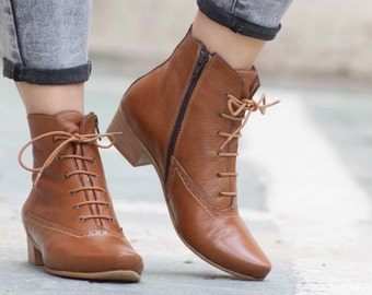 Leather Boots, Ankle Boots, Leather Booties, Winter Shoes, Lace Boots , Free Shipping