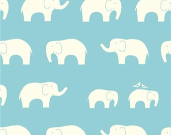 Ellie Fam Pool, Birch Organic, Mod Basics, Light Blue Teal Elephants, Modern Fabrics, One Yard, More Available