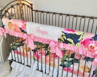 Navy Portadown Watercolor Floral Crib Bedding, Baby Pink Baby Bedding, Bumperless Crib Bedding, Baby Girl Bedding, White Girl Crib Set