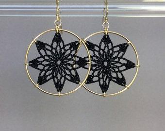 Tavita doily earrings, black silk thread, 14K gold-filled