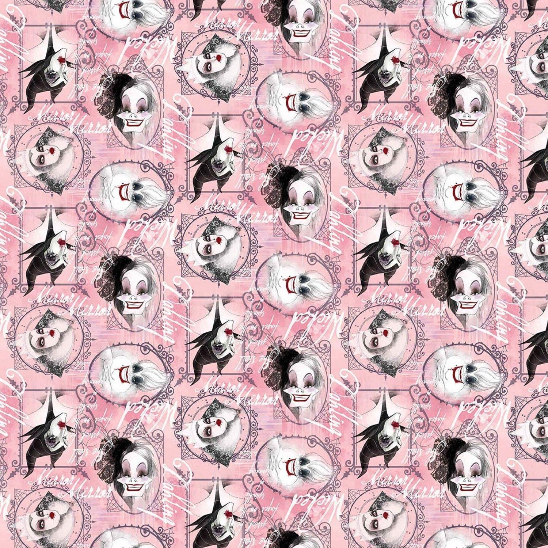 Disney princess Fabric: Disney Villains Fabric- Framed with Evil ...
