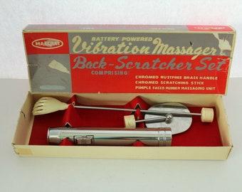 Vibration Massager Back Scratcher Set in Box, Battery Operated Chrome Massager Hand Scratching Stick | Works