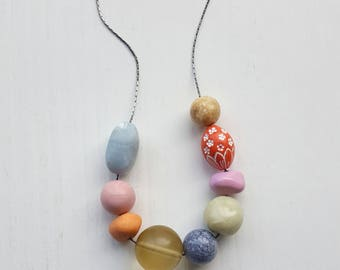 fresco necklace - remixed vintage beads - soft pastel colors - coral, terracotta, celery, slate, grey - spring floral jewelry
