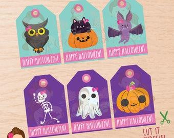 Halloween, Halloween tags, Halloween favor tags, Halloween treat tags, Halloween party, Halloween girls tags, Halloween girls, Girl tags