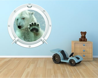 Polar Bear 1 Bathroom Bedroom Kids Porthole Wall Art Sticker Decal WAP-P103K