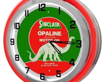 Sinclair Gas Dino Double Neon Clock