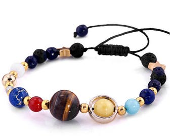 Solar System Eight Planets Of The Universe Galaxy Guardian Star Natural Stone Beads Bracelet Bangle