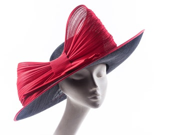 Large black and red bow  hat