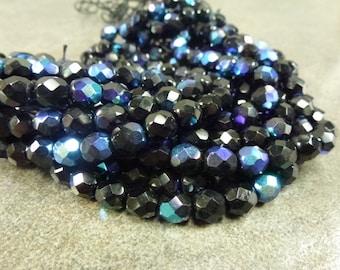 Jet AB Czech Glass Firepolish Beads 6mm Faceted Glass 25pc Black