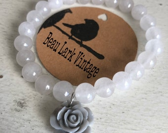 Milky Beaded Bracelet with Gray Rose Charm
