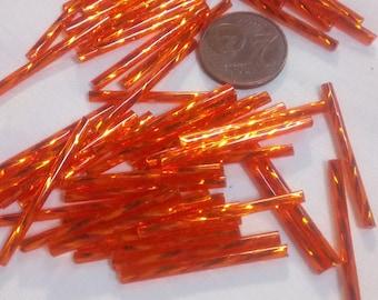 10 orange glass tube beads
