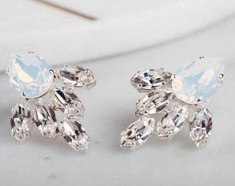 Waterfall earrings - white opal bridal earrings - crystal pear earring - bridal jewellery - swarovski crystal drop earrings - gift for bride