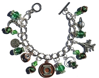 Handmade Green Lantern Superhero Beaded Charm Bracelet with Authentic Officially Licensed DC Comics Comic Book Charms