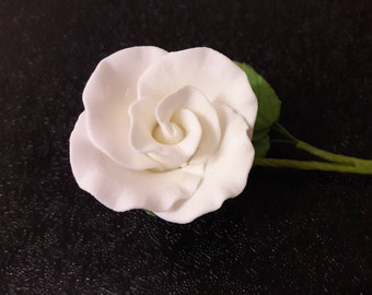 Small White Rose on Stem with Leaves Cake Decoration