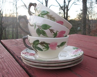 Six Pieces of Franciscan Desert Rose China - Cups/Bread and Butter Plates