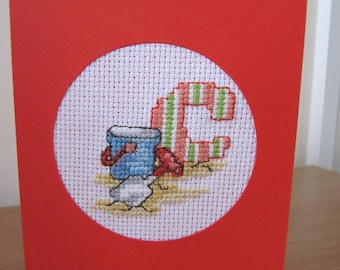 Cross Stitched Card with seaside theme