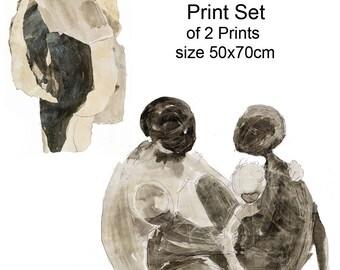 Downloadable print set, Printable Abstract Art, Wall Art Print, Instant Download, Large Art Print, Figurative Art, print set, Expressionist