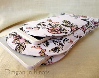 Imperfect Ereader Sleeve - Joie de Vivre Padded Case for small Tablet, pink roses on white book sleeve with metal snap, gadget holder