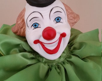 """Vintage 1980's Porcelain and Cloth Collector """"Clown"""" Doll"""