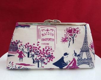 Clutch Purse, Bridesmaid Clutch, Bridal Clutch, Romantic Paris Clutch, Bridesmaid Gift, Wedding Clutch, Christmas Gift, Gift for Her