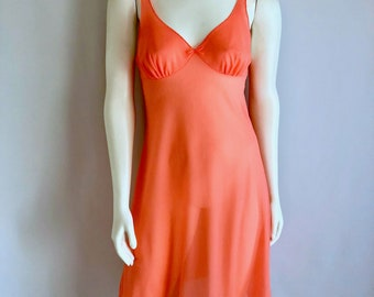 Vintage Lingerie Women's 80's Neon Orange, Slip, Nightgown, Knee Length by Vassarette (S)