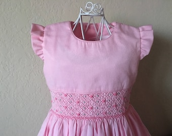 Size 4 Hand Smocked Girls' Dress - Pink with Rose Accent Flowers and Ruffled Sleeve Detail