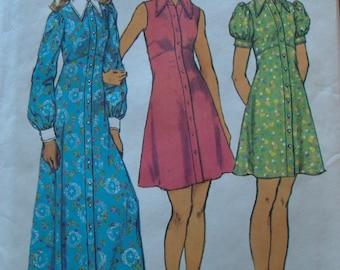 Vintage 1970s Butterick 5554 Sewing Pattern Mini Length and Maxi Dress's Empire Waist Dress Size 14 Bust 36 UNCUT