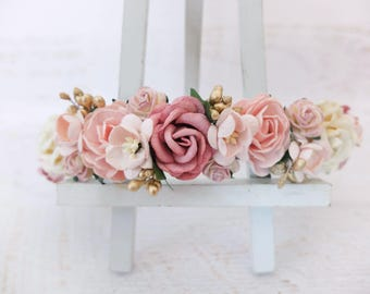 Flower crown wedding - dark dusty rose blush pink ivory gold bridal floral hair wreath - girl headpiece bridesmaids hair accessories