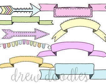 Pastel Banners Digital Clip Art Set- Instant Download