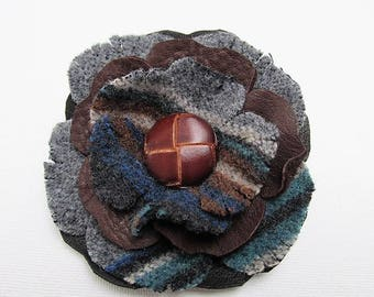 Leather flowers, leather corsage with vintage button & wool, leather brooch, rustic corsage, winter corsage, leather grooms corsage flower