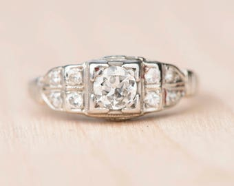 Art Deco Old European Cut Diamond Engagement Ring Filigree White Gold