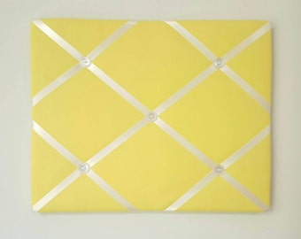 Yellow French Memo Board - Yellow Fabric Ribbon Board - Yellow Message Board - Yellow Pin Board - Fabric Board Command Center - Memory Board