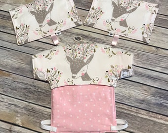 Reversible Lillebaby bib and drool pads set in pink dots and deer pattern.