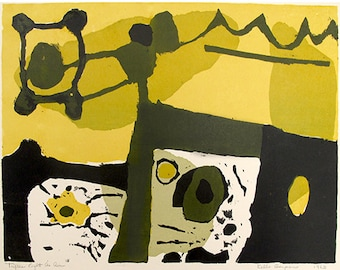 abstract print, yellow and black, earthy colors, shapes, silkscreen