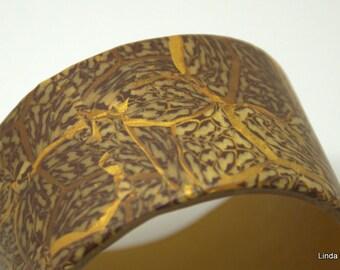 Wide Bangle - golden brown metallic Bangle - Polymer Clay Bracelet- Brown wide Bracelet