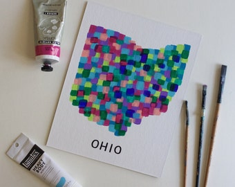 Ohio Art, Ohio Painting, Ohioan, Ohio State, State Art, Colorful Art, Abstract Art, Acrylic Painting, 8x10 Canvas Board NO Frame