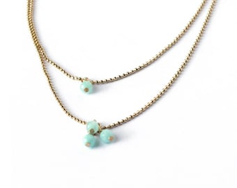 Double ball chain blue necklace, Gemstone gilded necklace, Minimal crew neck necklace, Amazonite necklace, Precious jewelry, Dainty necklace