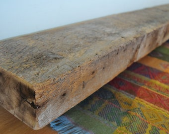 "Reclaimed Wood Fireplace Mantel 77"" x 7"" x 3""  Mantle Shelf Gray Whitewash Barnwood Rustic Distressed Barn Beam Antique"