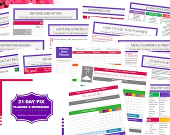 Printable 21 DAY FIX Fitness Planner for Beachbody 21 Day Fix workout program   Meal Planning   Portion Control Food Tracker