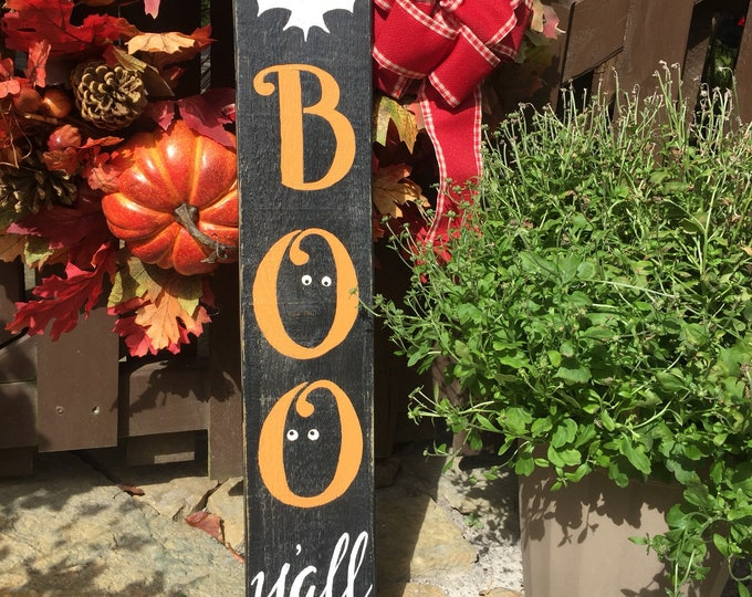 Boo Y'all Sign. Boo Sign. Halloween Decorations. Halloween Art. Halloween Wreath. Fall Decor. Porch Sign. Porch Decor. Front Door Signs